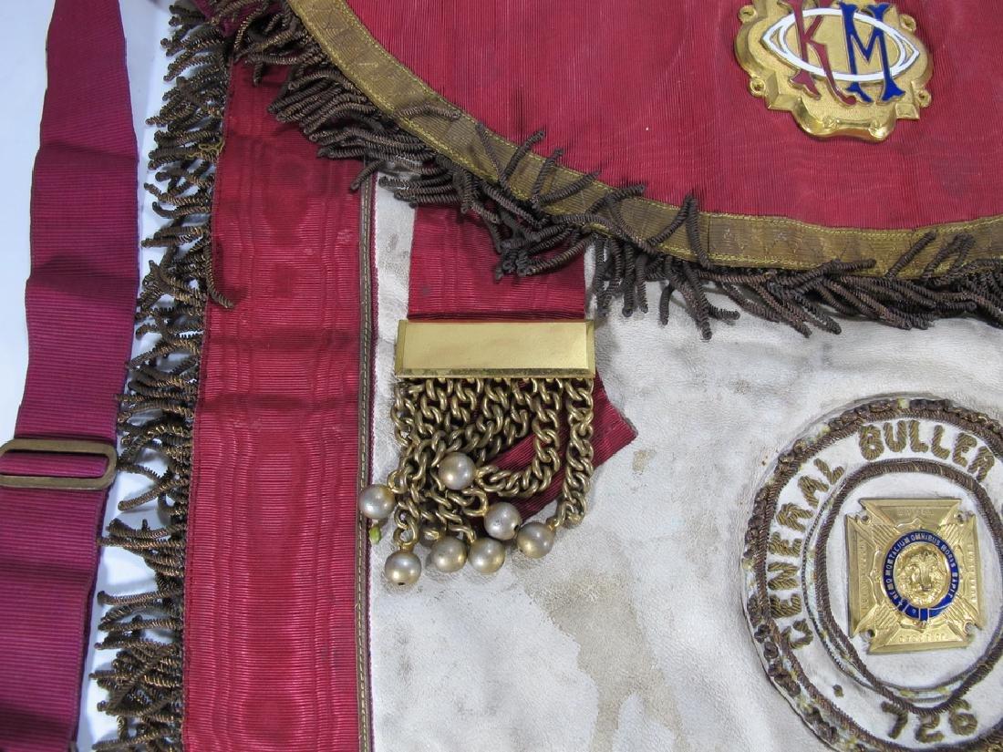 Antique Masonic apron Order of Buffaloes badge - 4
