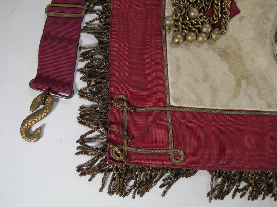 Antique Masonic apron Order of Buffaloes badge - 6