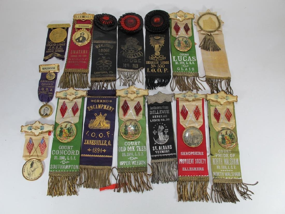 Lot of 15 assorted Masonic Orders ribbons