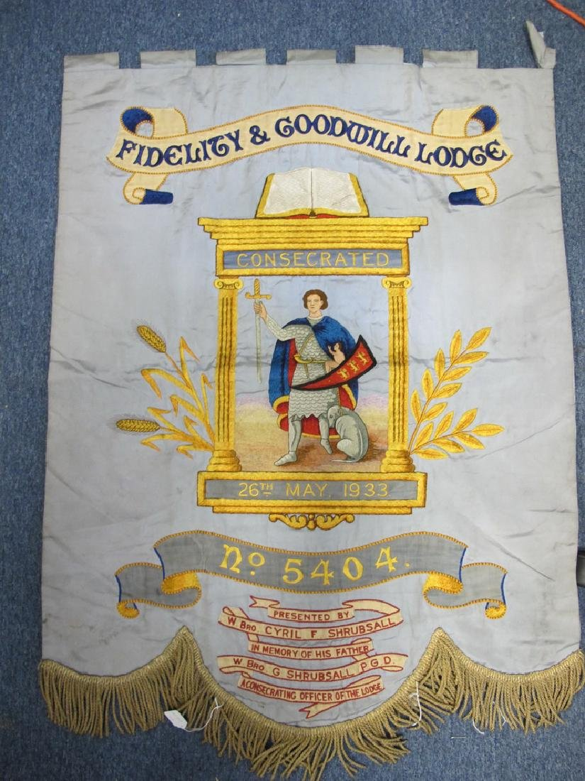 Antique embroidered Masonic flag