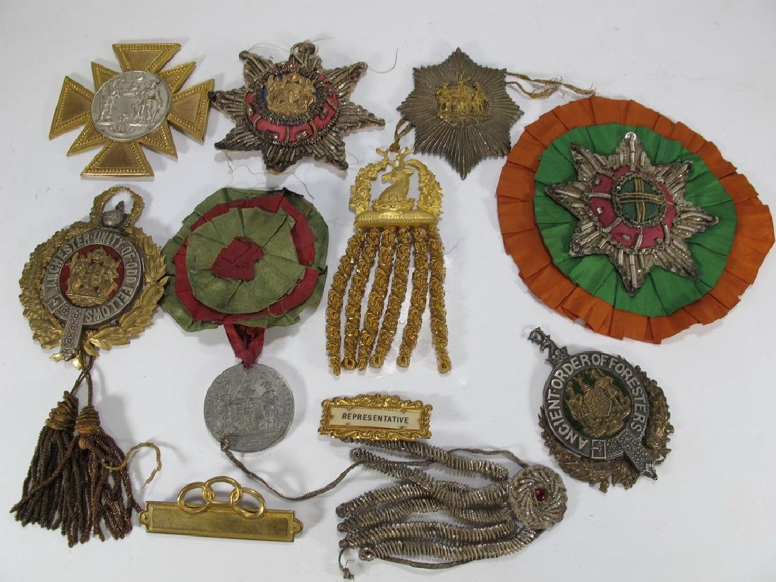 Lot of  Masonic Orders sashes badges, pins, ribbons and
