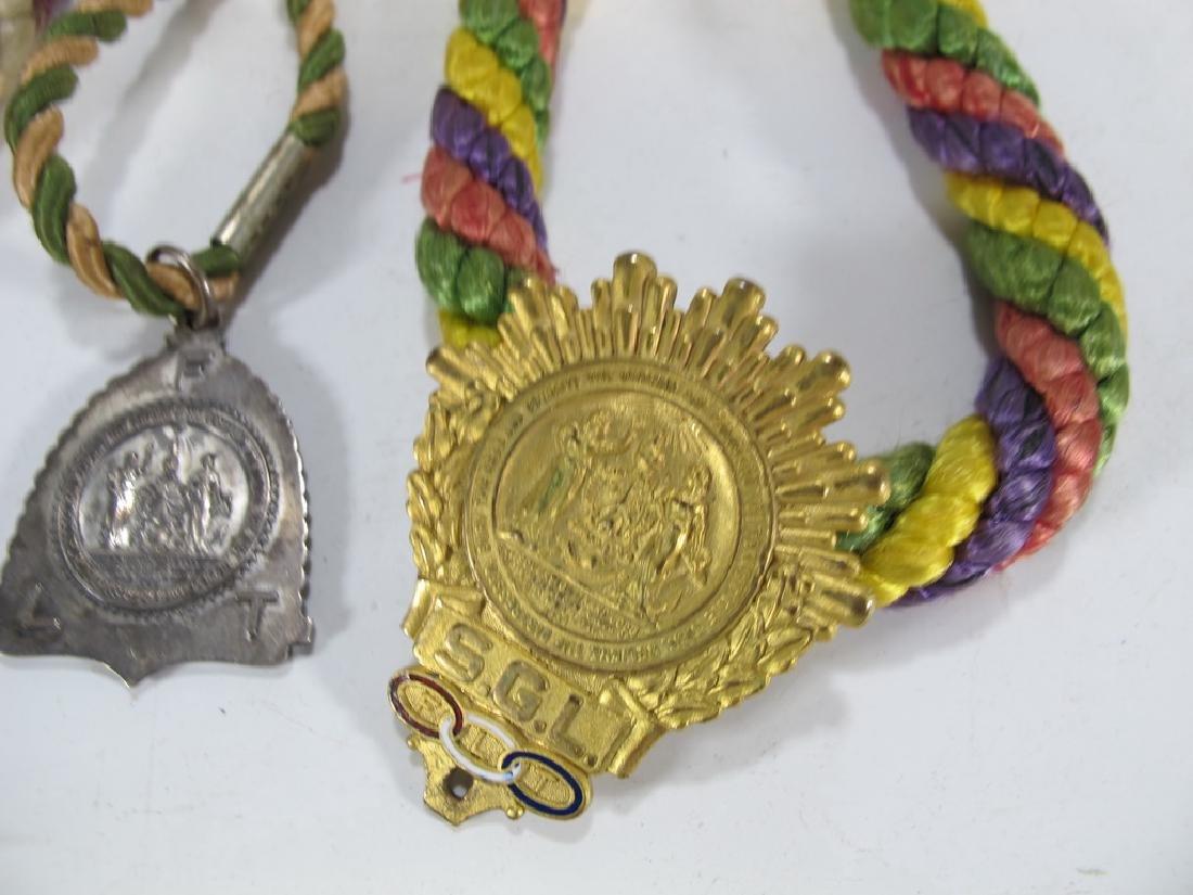 Lot of three Masonic cordon collars with medals - 3