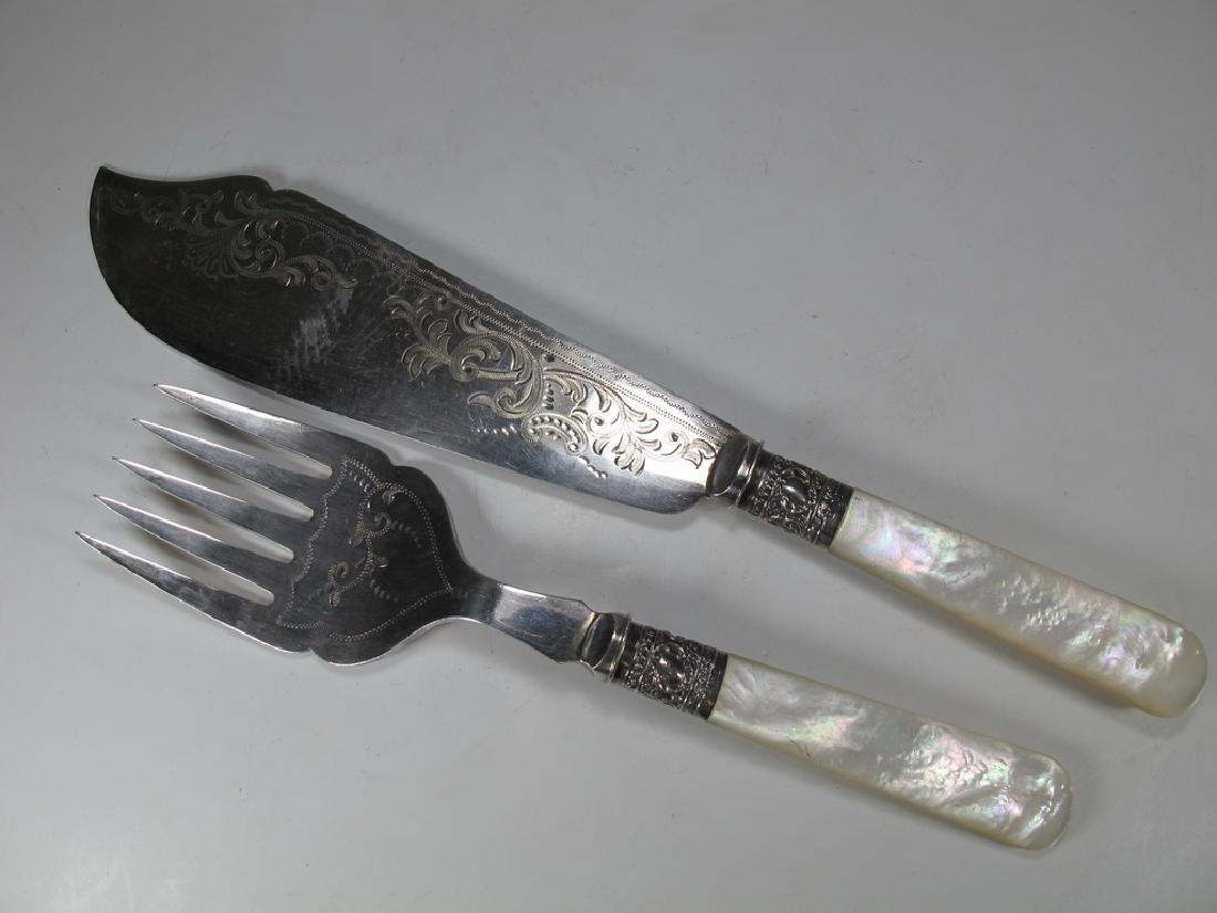 Antique English silver & mother of  pearl fork & knife