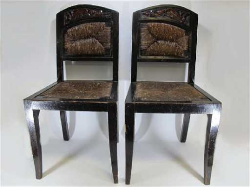 - Antique Spanish Pair Of Wood & Wicker Chairs