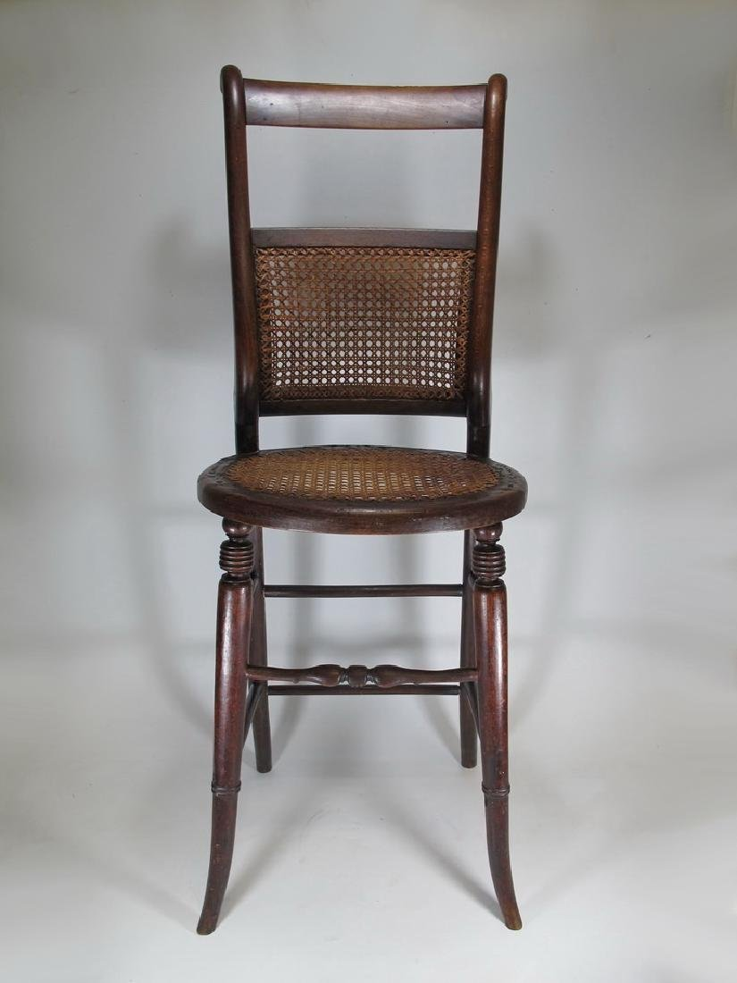 19th C. French tone & caned small chair