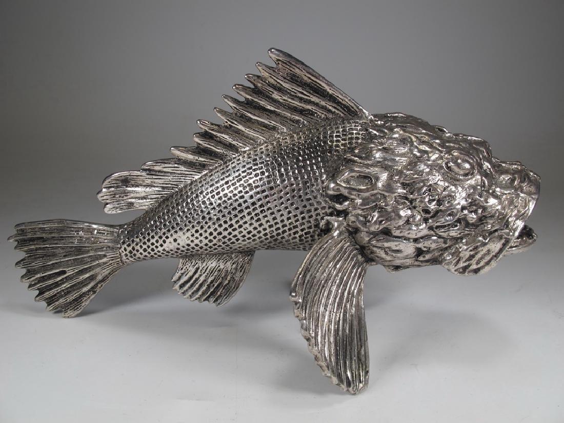 Vintage silverplate fish sculpture - 3