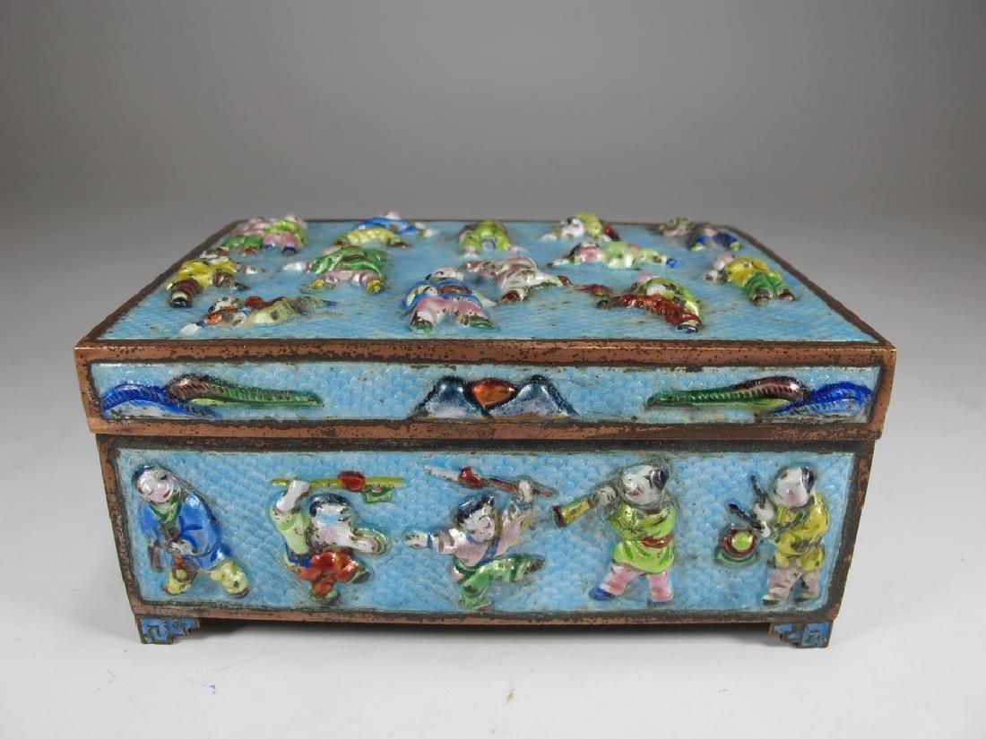 Vintage Chinese silverplate & enamel box
