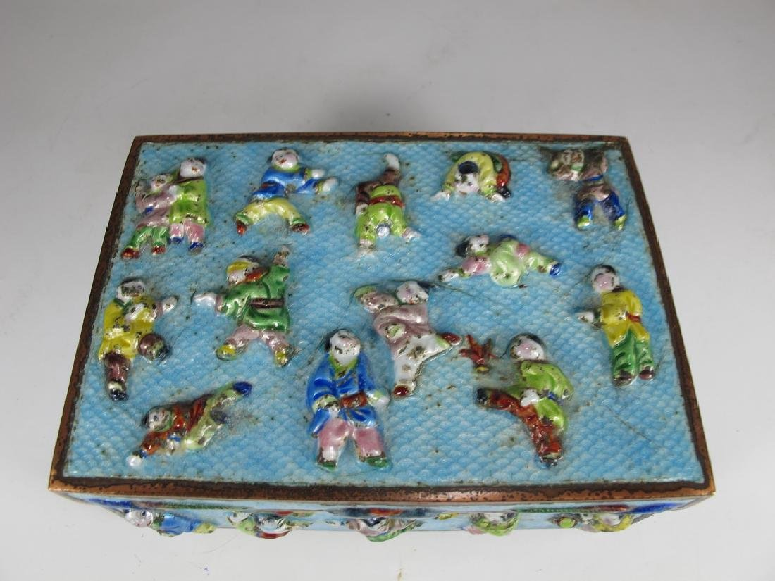 Vintage Chinese silverplate & enamel box - 2