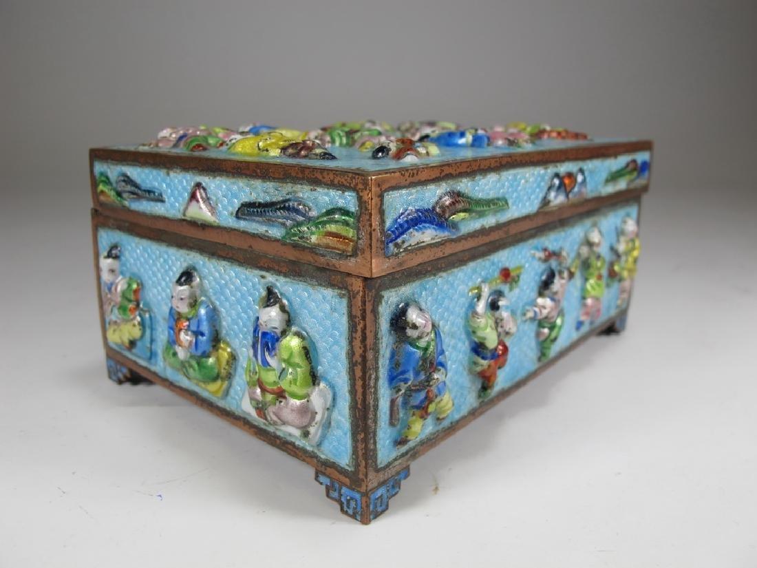 Vintage Chinese silverplate & enamel box - 3