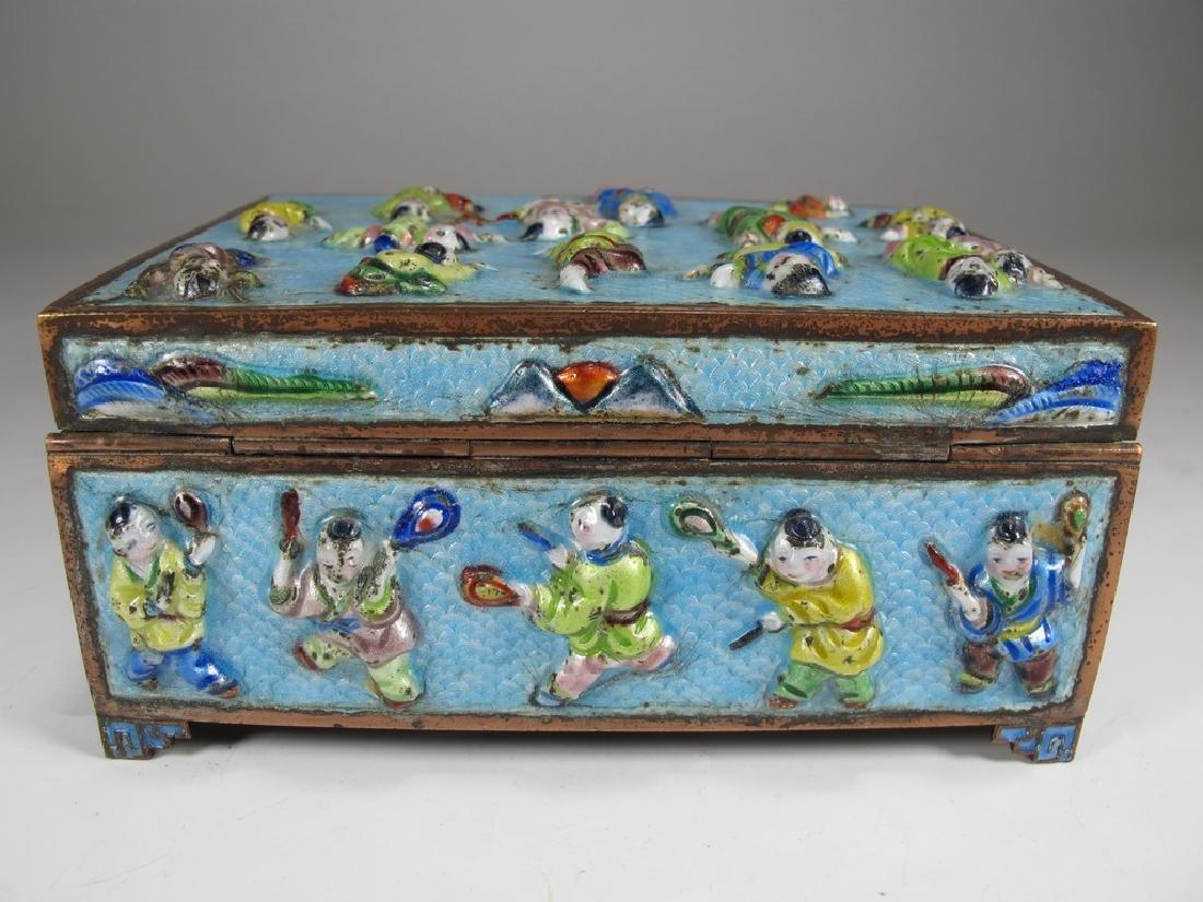 Vintage Chinese silverplate & enamel box - 5
