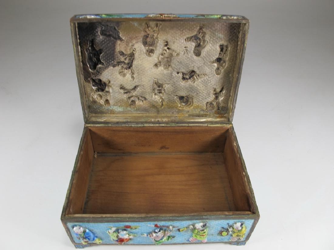 Vintage Chinese silverplate & enamel box - 6