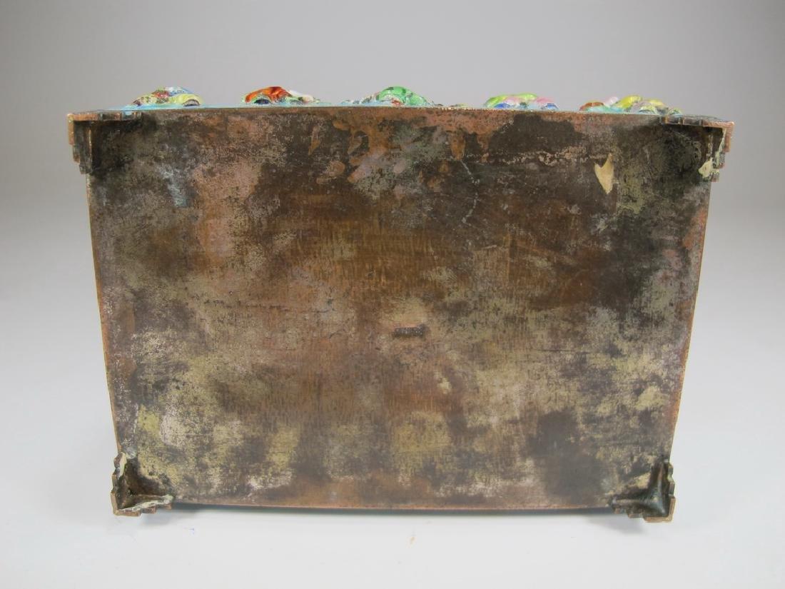 Vintage Chinese silverplate & enamel box - 7