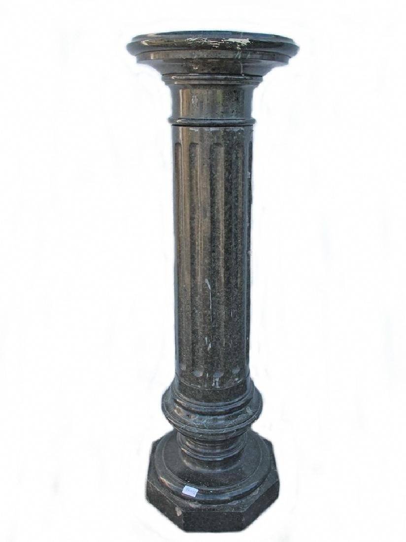 Antique European green marble pedestal