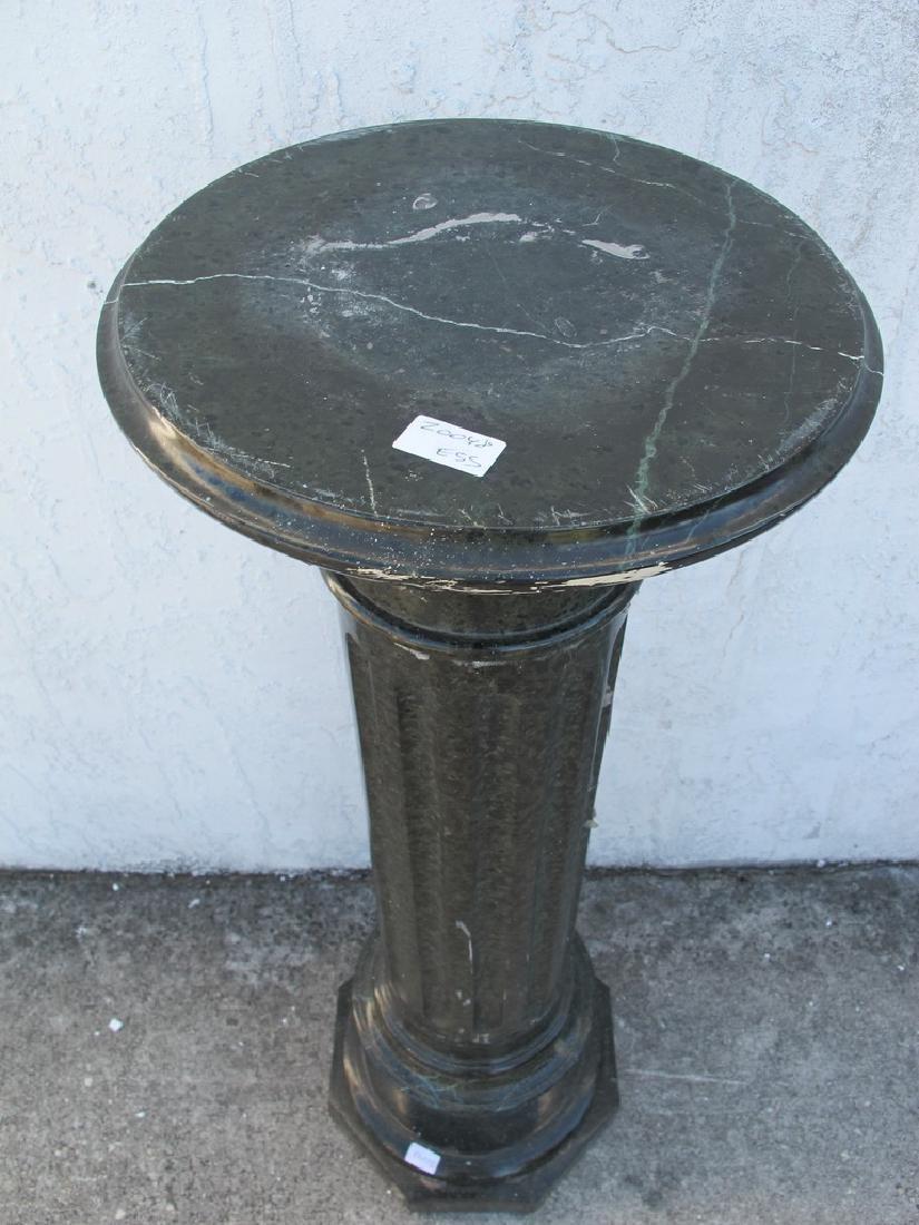 Antique European green marble pedestal - 2