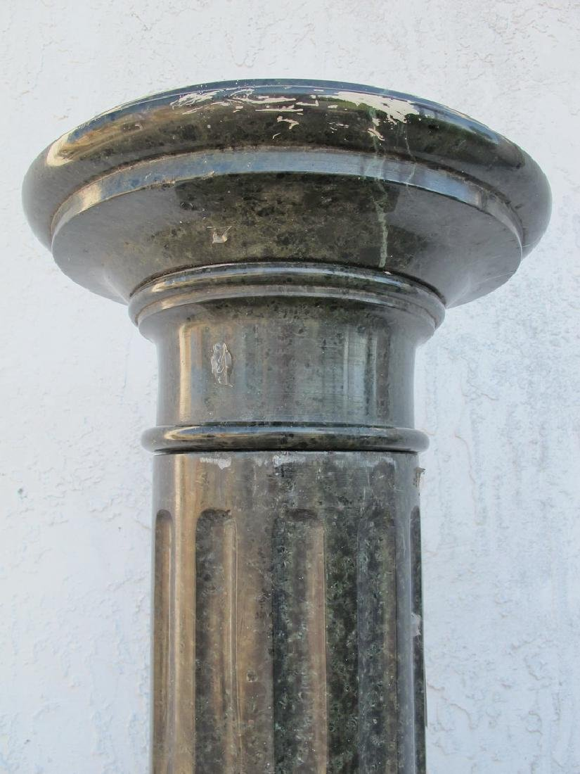 Antique European green marble pedestal - 3
