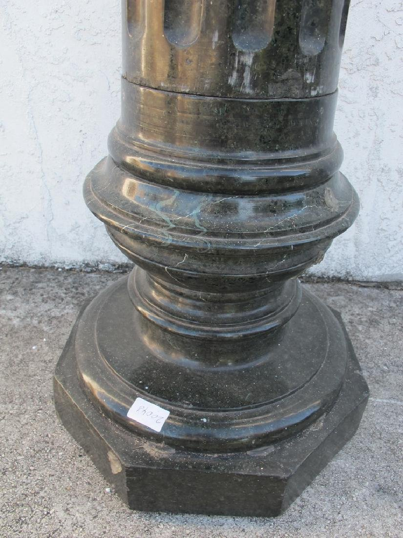 Antique European green marble pedestal - 4