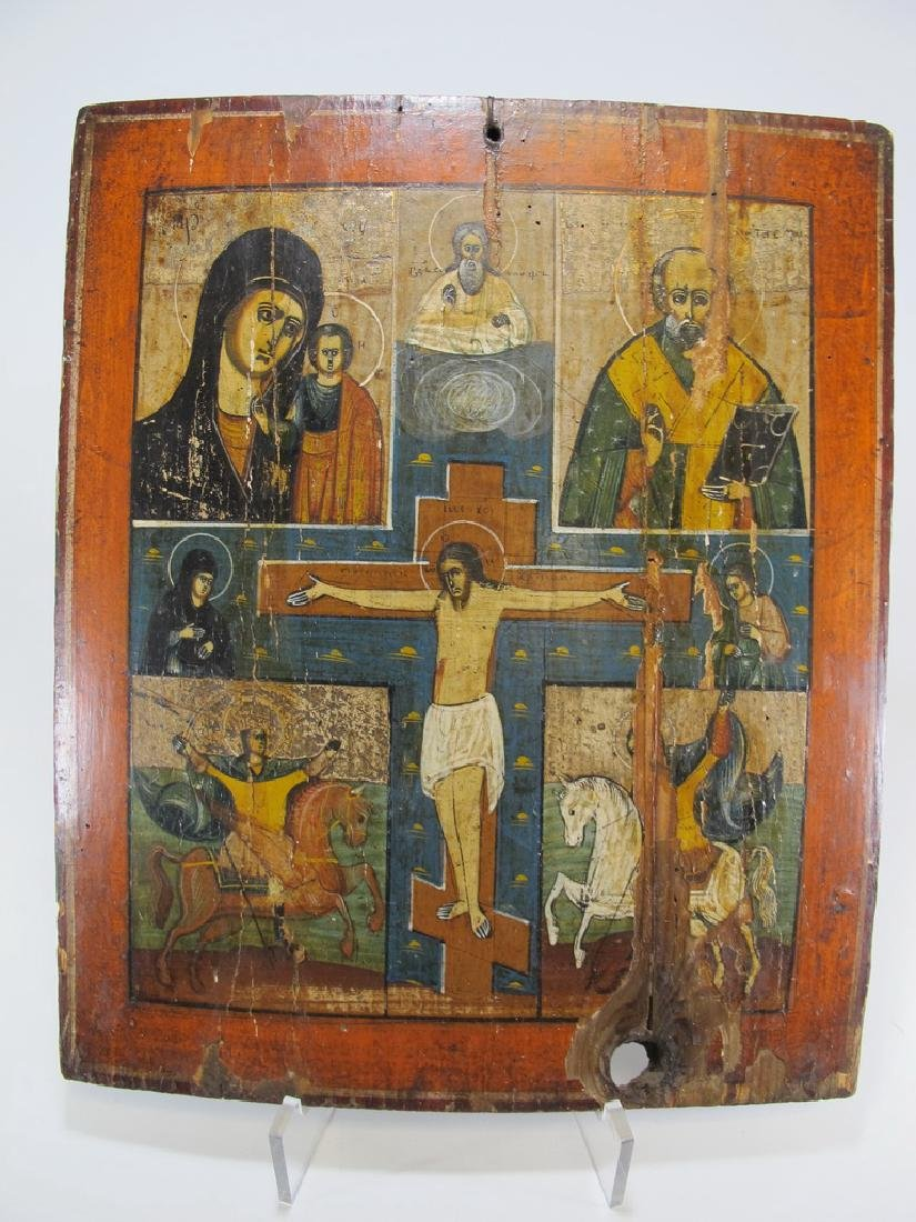 Antique probably Russian painted wood icon