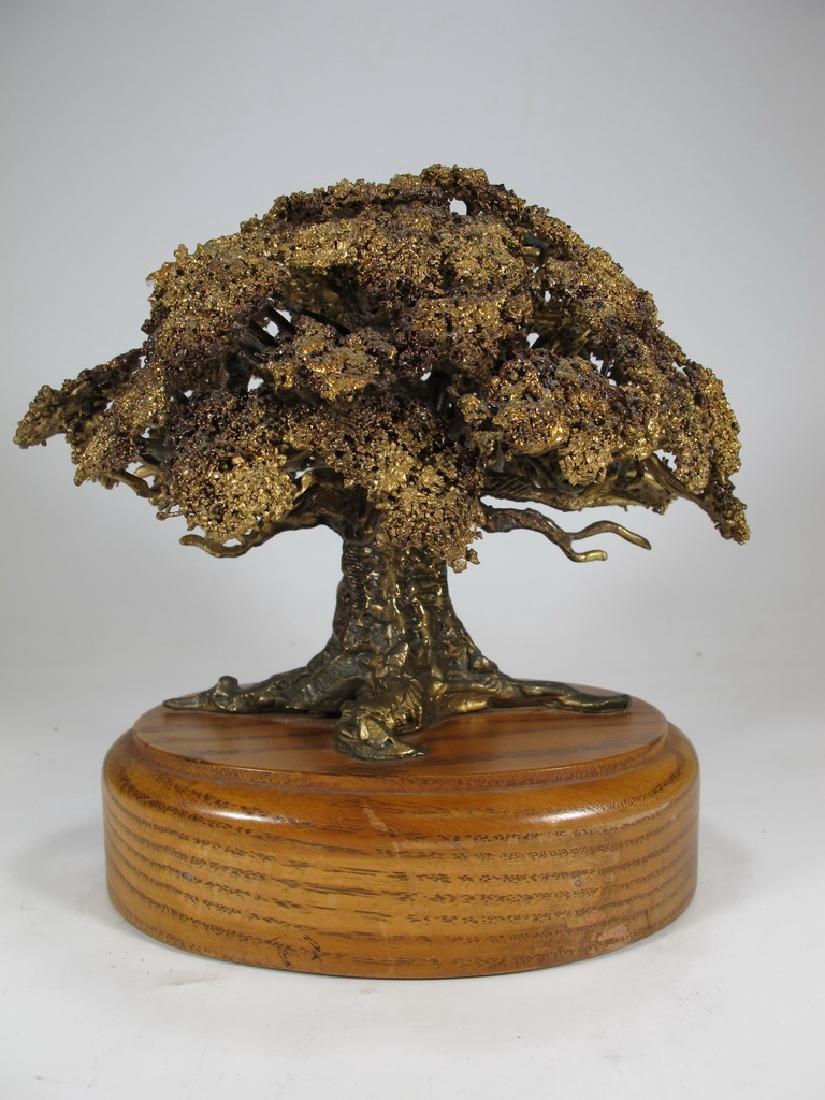 Vintage Brutalist bronze tree sculpture