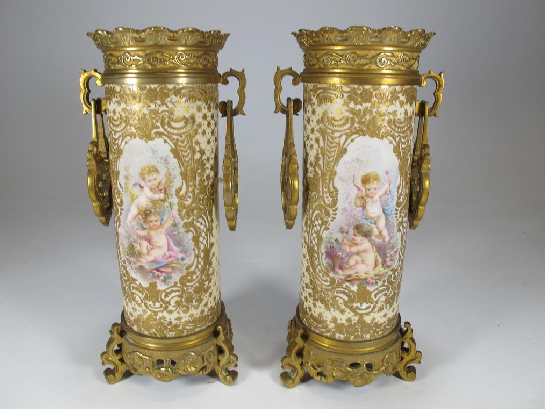 Antique French Sevres pair of bronze & porcelain vase