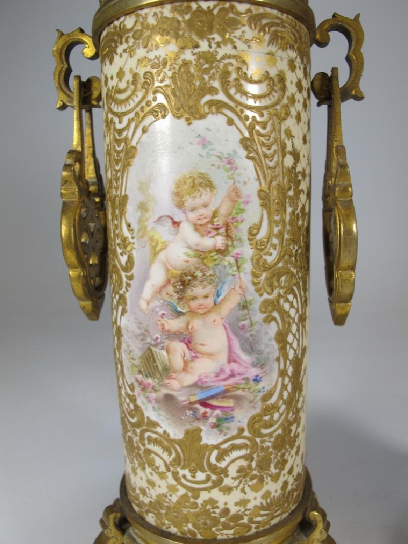 Antique French Sevres pair of bronze & porcelain vase - 3