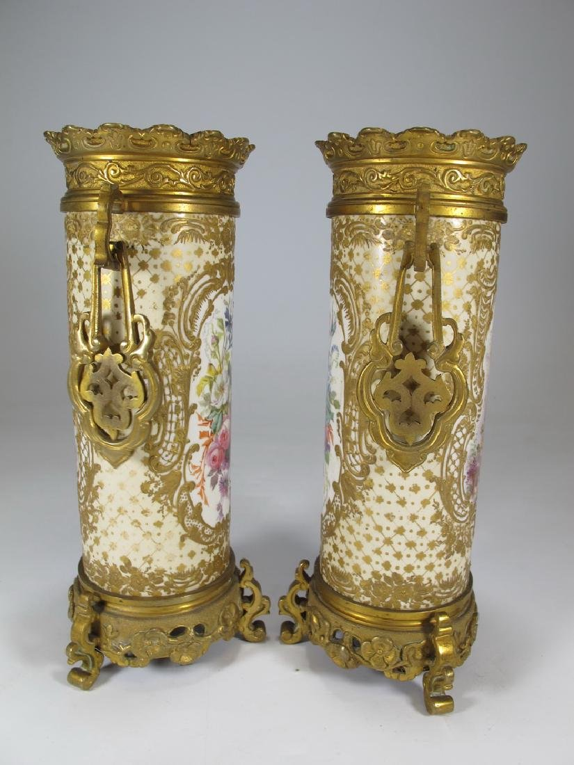 Antique French Sevres pair of bronze & porcelain vase - 5