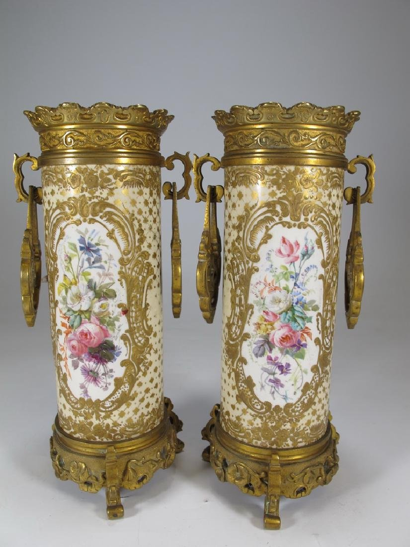 Antique French Sevres pair of bronze & porcelain vase - 6