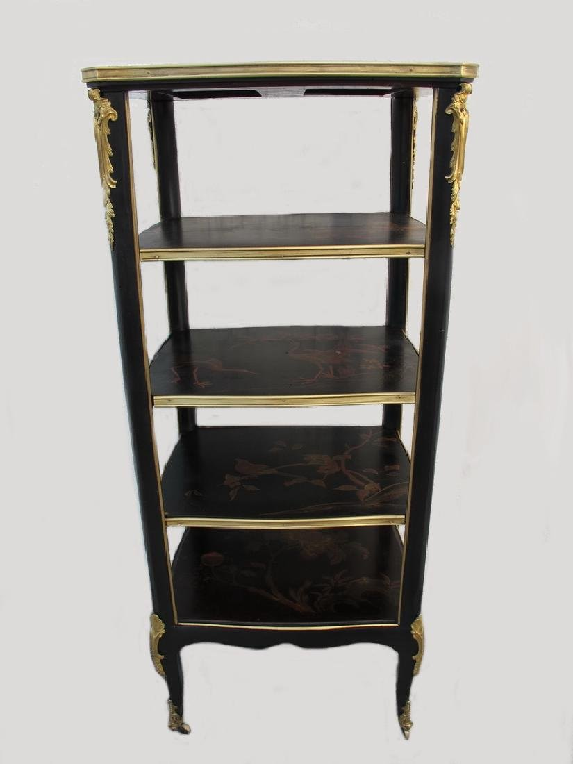 Antique hand painted & bronze Chinoserie shelf
