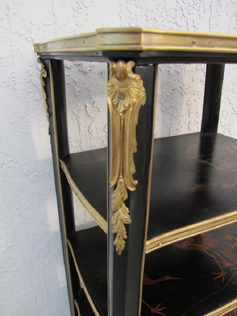 Antique hand painted & bronze Chinoserie shelf - 4