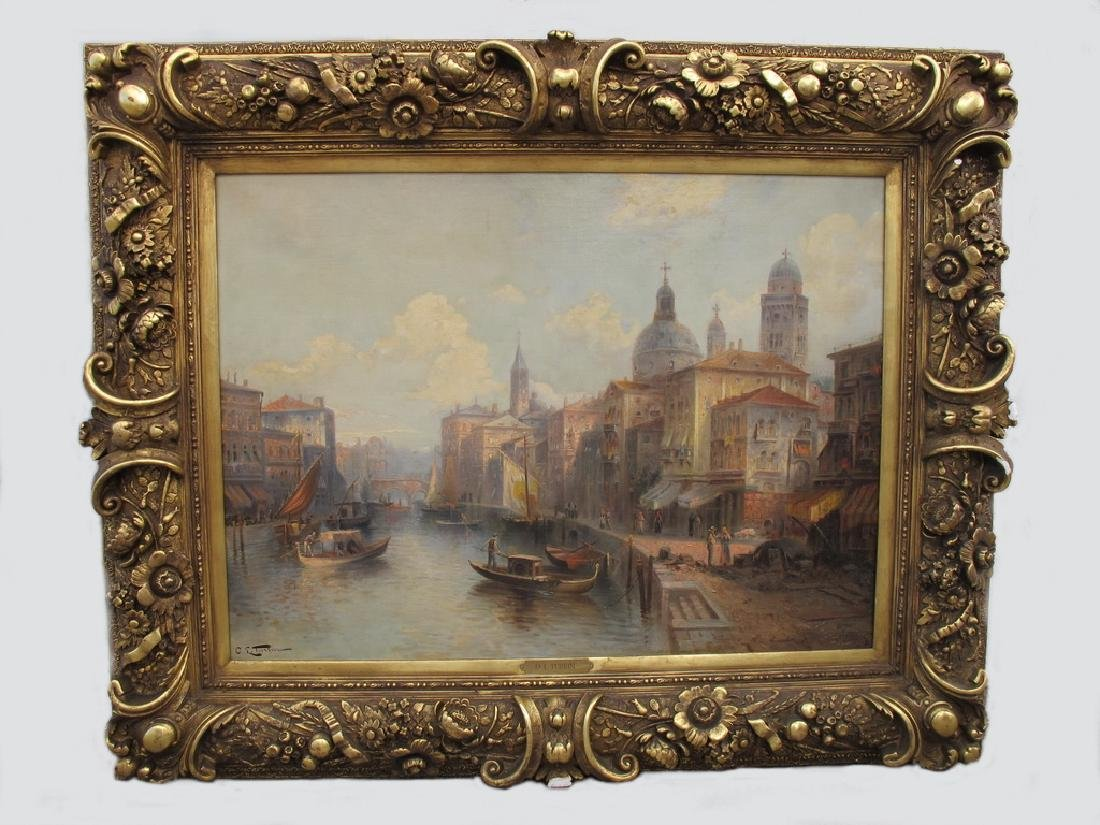 19th C European oil on canvas Venice painting, O. L.