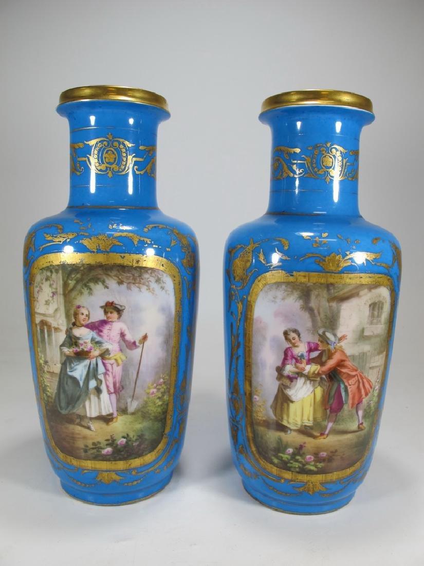 Antique French Sevres pair of porcelain vases