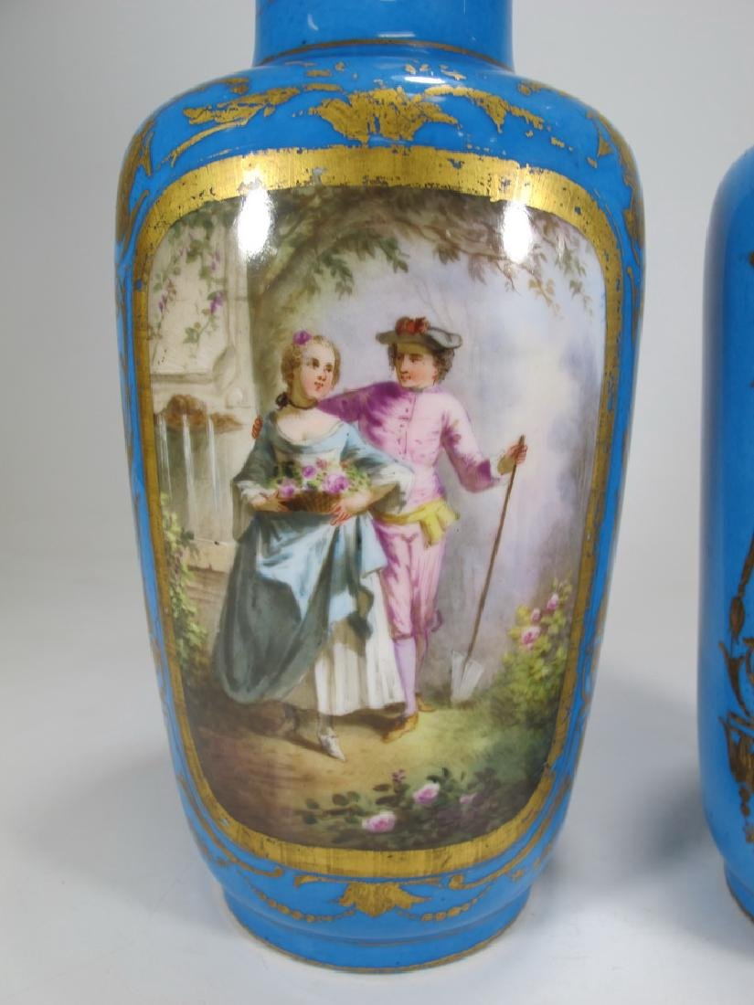 Antique French Sevres pair of porcelain vases - 3