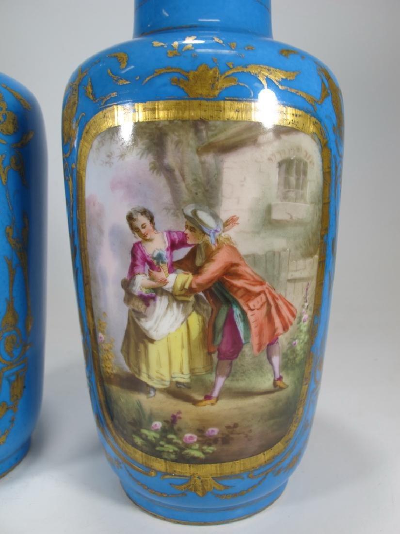 Antique French Sevres pair of porcelain vases - 4