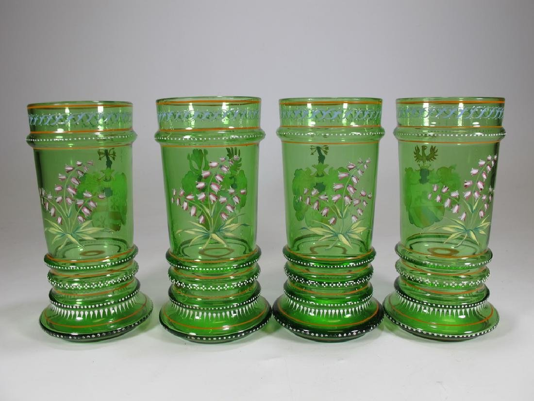 Probably Moser set of 4 enamel glasses - 7