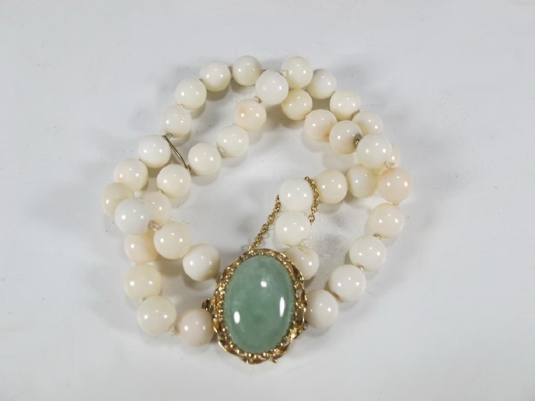 Antique 14 k gold, coral & jade bracelet