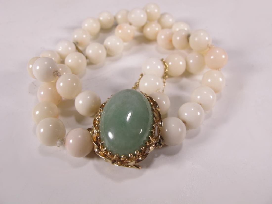 Antique 14 k gold, coral & jade bracelet - 2