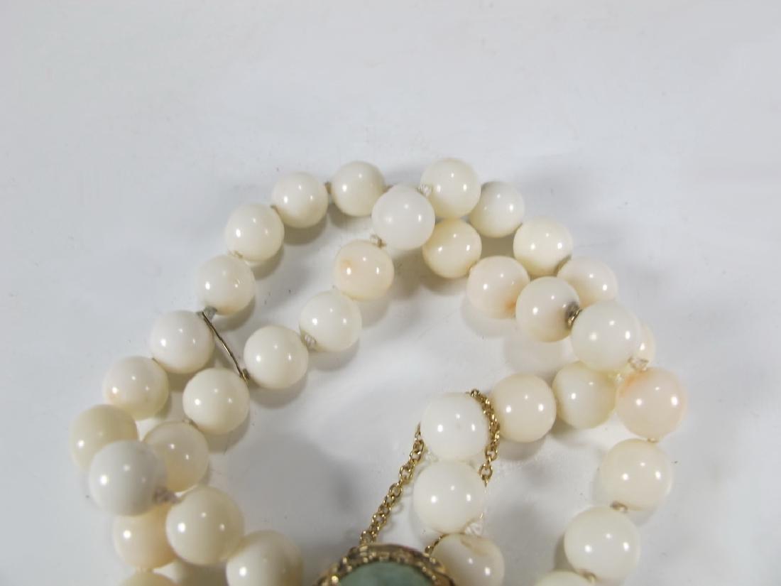 Antique 14 k gold, coral & jade bracelet - 3