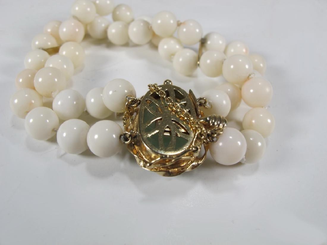 Antique 14 k gold, coral & jade bracelet - 4