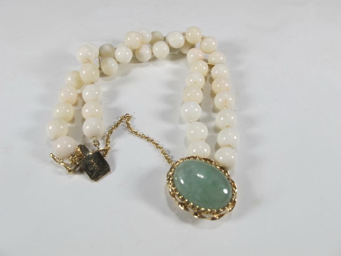 Antique 14 k gold, coral & jade bracelet - 5