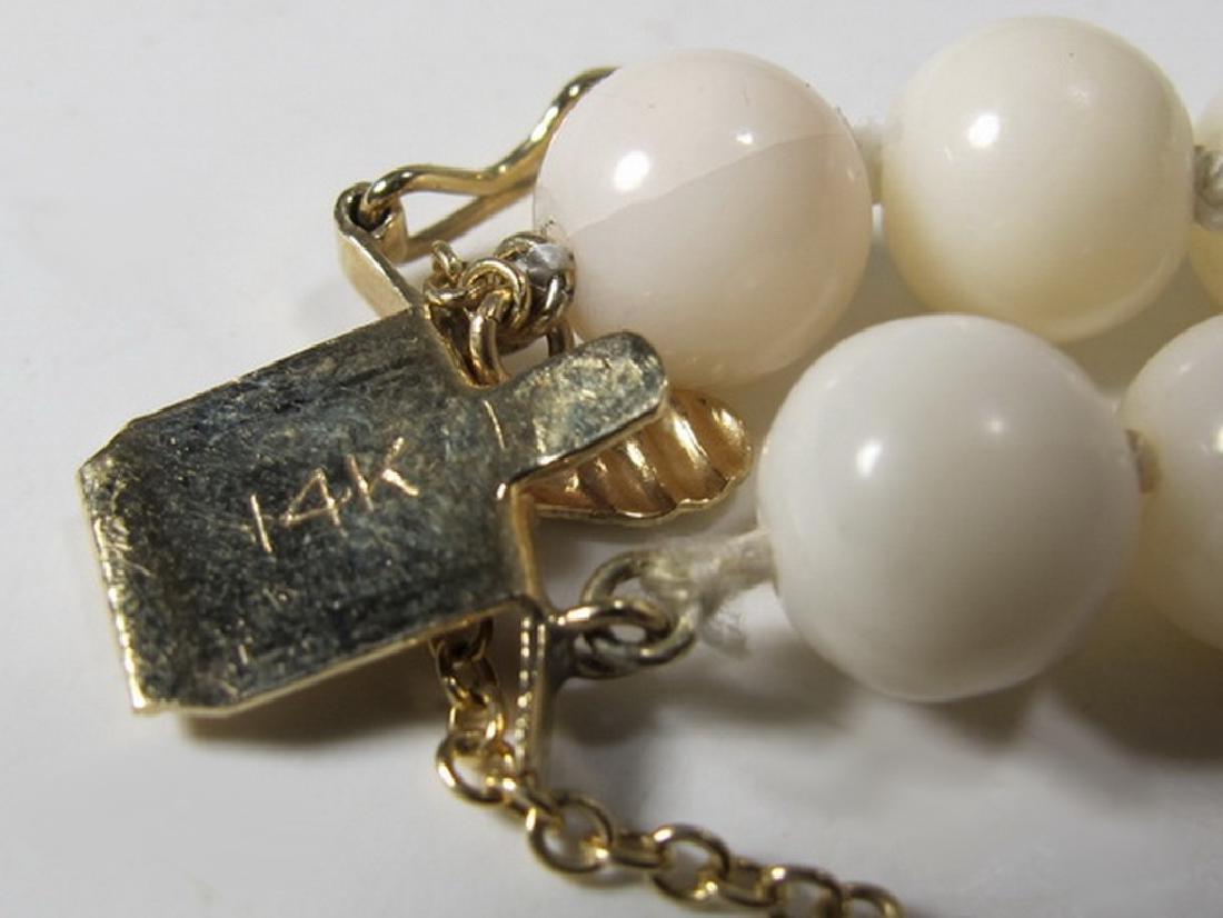 Antique 14 k gold, coral & jade bracelet - 6