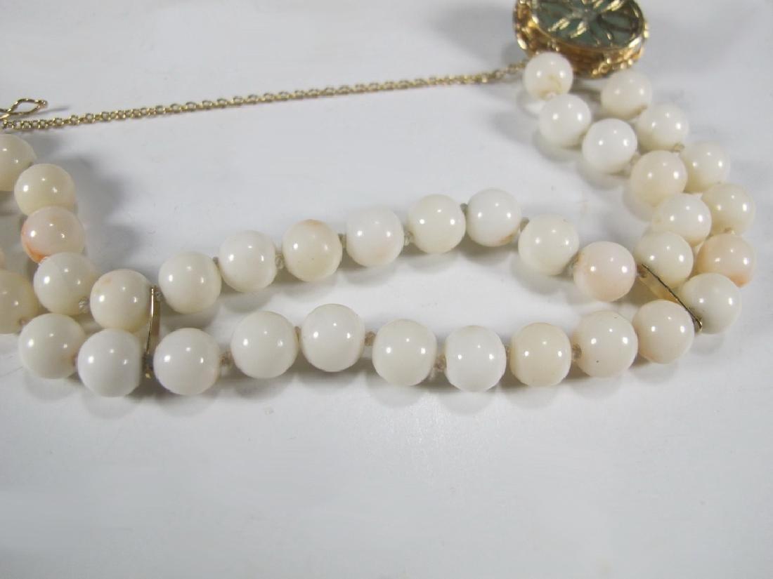 Antique 14 k gold, coral & jade bracelet - 7