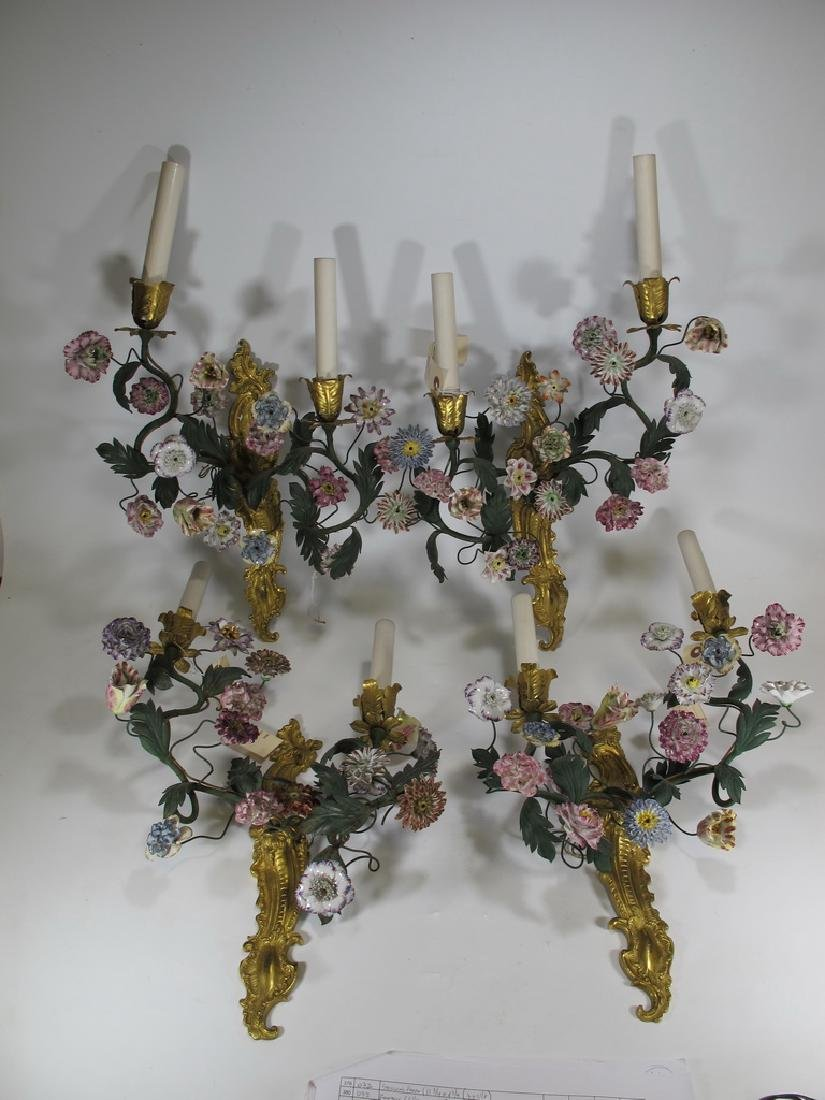 Gorgeous French set of 4 antique bronze & porcelain