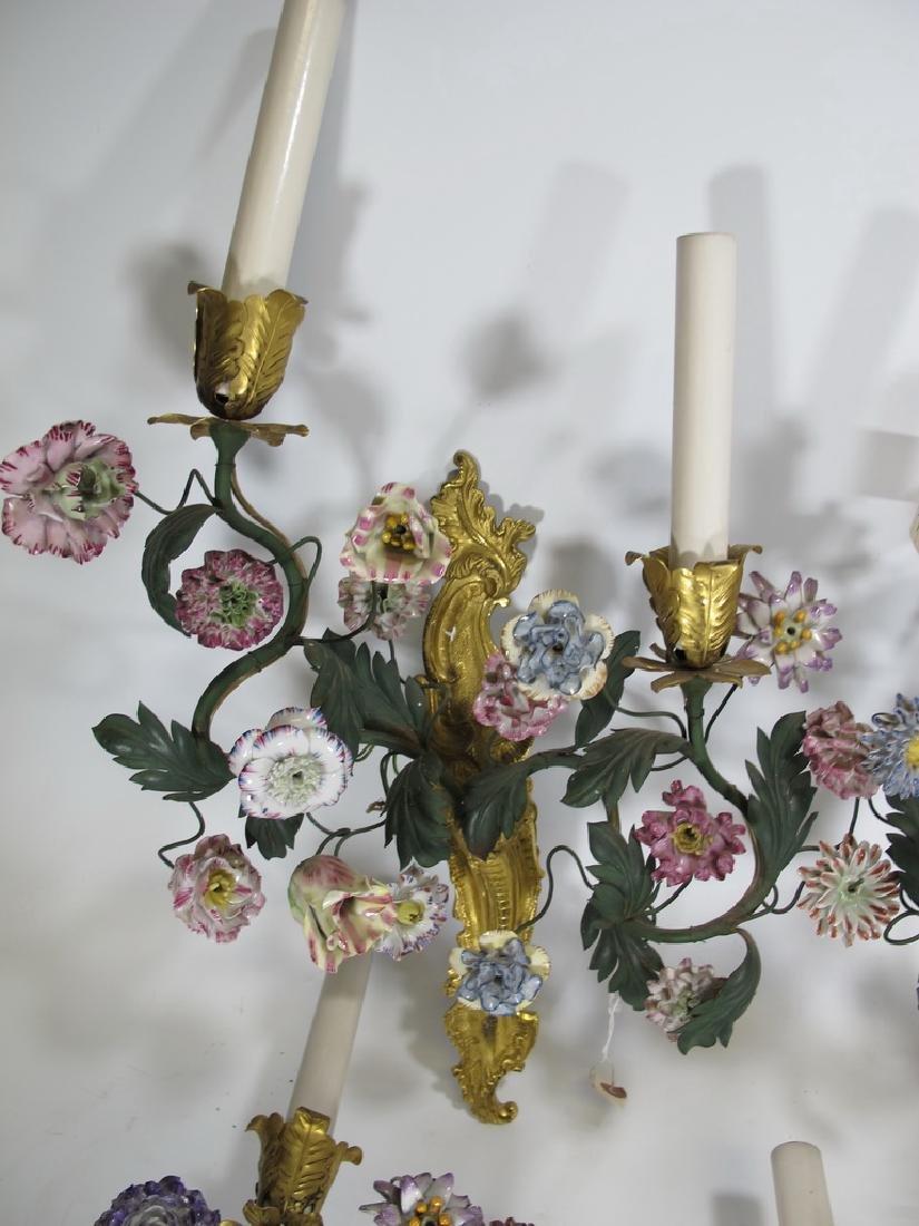 Gorgeous French set of 4 antique bronze & porcelain - 2