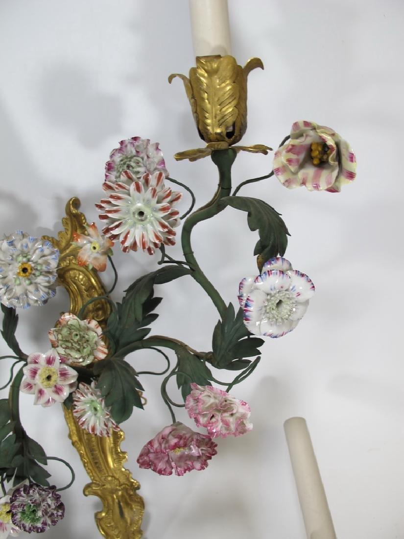 Gorgeous French set of 4 antique bronze & porcelain - 4
