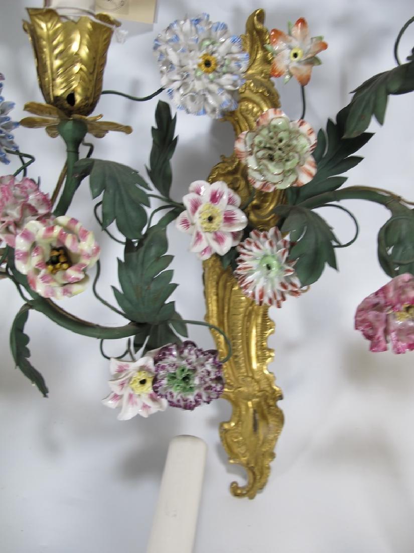Gorgeous French set of 4 antique bronze & porcelain - 5