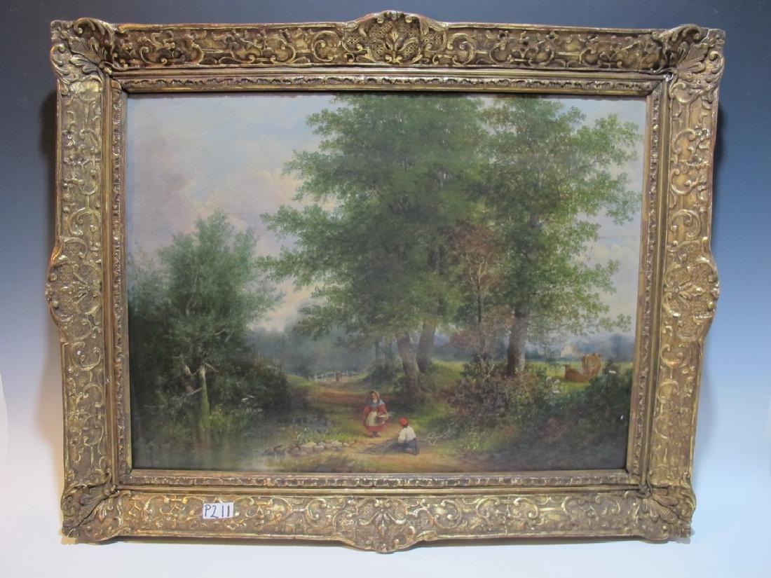 Antique European oil on canvas lanscape painting