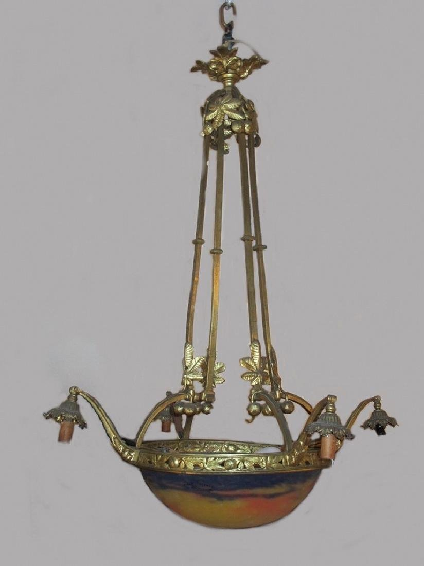 Antique Muller Freres Luneville chandelier, signed
