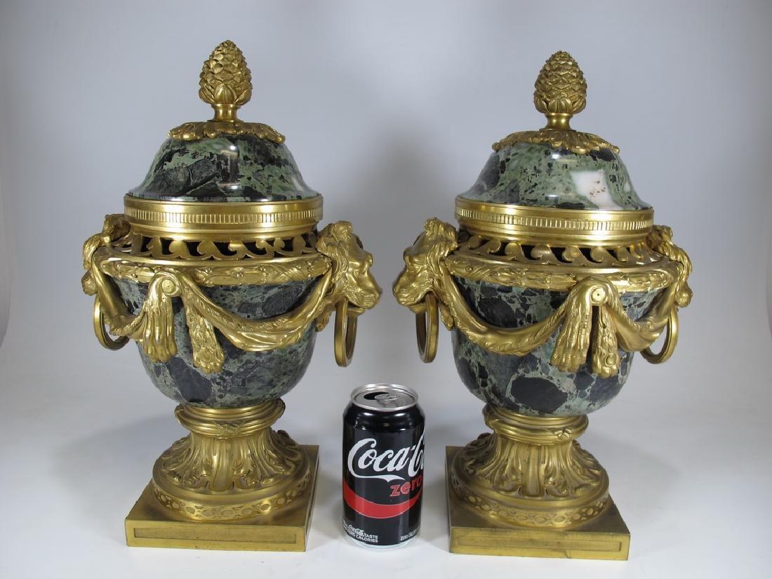 Antique Raingo Freres pair of bronze & marble urns