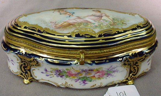101: French Sevres blue porcelain hinged box