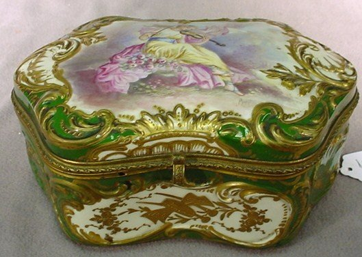 102: French Sevres green porcelain hinged box