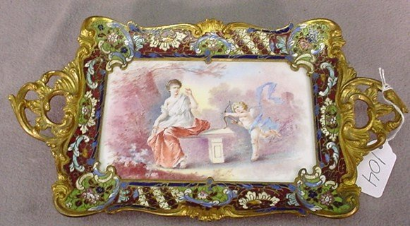 104: Champleve Sevres enameled & hand painted tray